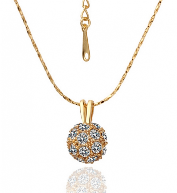 Clear Crystal 18K Yellow Gold GP Shamballa Pendant Necklace N116