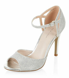 3625682fe3cc NEW LOOK SIZE 3 4 5 6 7 8 9 SILVER SPARKLY BRIDAL SPECIAL OCCASION ...