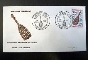 MADAGASCAR-401-PREMIER-JOUR-FDC-INSTRUMENT-MUSIQUE-LUTH-3F-1965