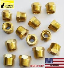 "10X- 1/2"" Male x 1/4"" Female NPT  Pipe reducer Hex Bushing adapter Brass Fitting"