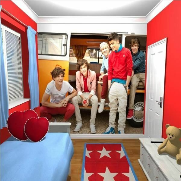 NEW ONE DIRECTION 1D HARRY STYLES GIANT WALLPAPER MURAL CAMPERVAN  270 x 253CM