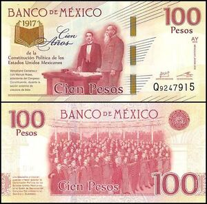 9 Pcs Coin Set Folder Mexico 1-50 Centavos//Pesos 2017 Comm 100 Constitution
