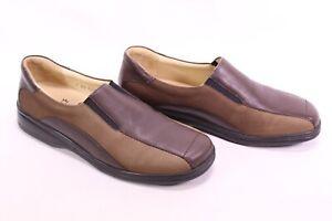C2155-Goldkrone-Damen-Gummizug-Slipper-Schuhe-Lack-Leder-braun-Gr-40-5-7-K
