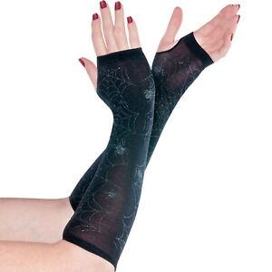Consciencieux Femme Gothique Araignée Noir Transparent Arm Warmers Halloween Fancy Dress Accessoires-afficher Le Titre D'origine Emballage De Marque NomméE