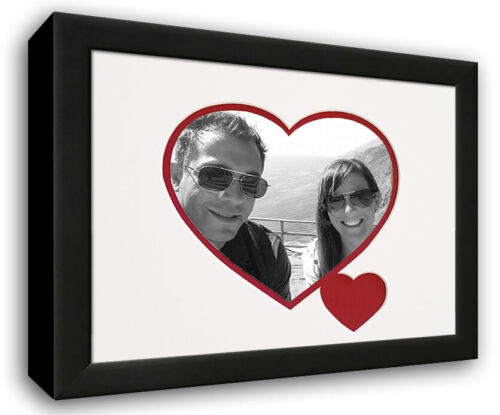 Heart /& Love Picture Frame Wood Frame With Heart Shaped Double Mat for 4x6 pho