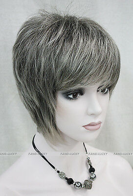 Hivision Dark Brown & Light gray Mixed Women ladies Daily Fluffy Wig FTLD099
