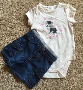 NWT-Infant-Girl-039-s-Cream-Short-Sleeve-Bodysuit-Denim-Shorts-2pc-3-6M