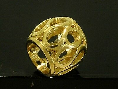 Bd015- Genuine 9K 9ct Solid Yellow Gold Filigree Eternity Bead Charm