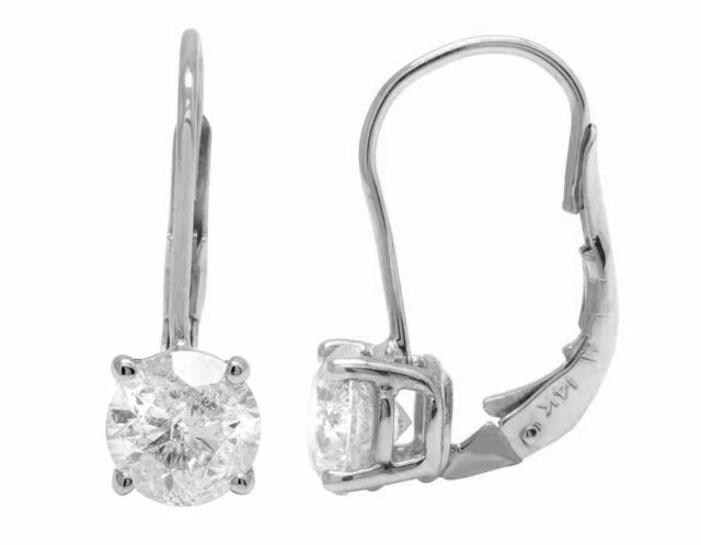 14K White Gold Real Diamond Solitaire Ladies LeverBack Dangle Earrings .50Ct