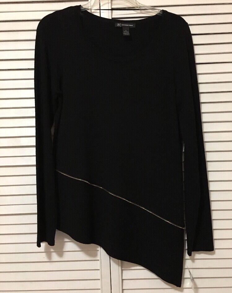 NEW INC International Concepts Embellished Zipper Asymmetrical Sweater - Medium