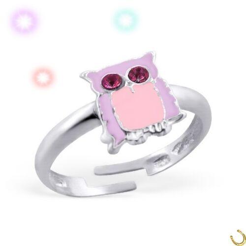 Kristall Eule Kinder Ring 925 Echt Silber Mädchen Geschenkidee
