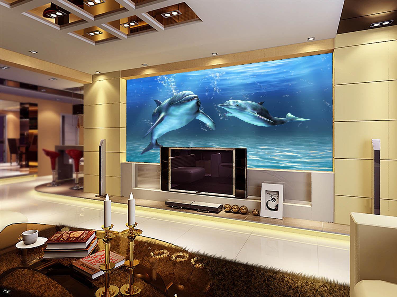 3D Dolphin Sea 401 Wallpaper Murals Wall Print Wallpaper Mural AJ WALL UK Jenny