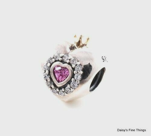 b1e63283a PANDORA Women's 14k Gold and Sterling Silver Pink Princess Heart Charm -  791375PCZ