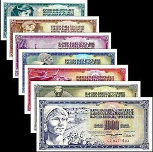 YUGOSLAVIA SET 7 PCS 5 10 20 50 100 500 1000 DINARA RANDOM DATES UNC