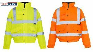 Para-Hombre-Hi-Vis-Visibilidad-Viz-Premium-Seguridad-Bomber-Jacket-Lana-Forrada-Ropa-De-Trabajo