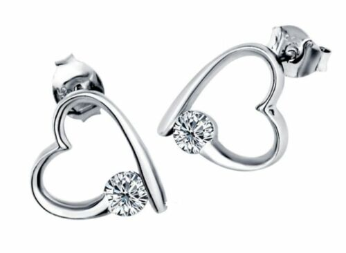 Silver Topaz Gemstone Crystal Love Heart Pendant Necklace Stud Earrings Set G8