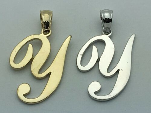 14k Yellow White or Rose Gold Initial Letter Y Alphabet A-Z Charm Pendant