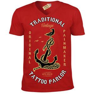Tatuaggio-Palor-T-Shirt-Vintage-Ancora-Dolore-Originale-Uomo-Scollo-a-V