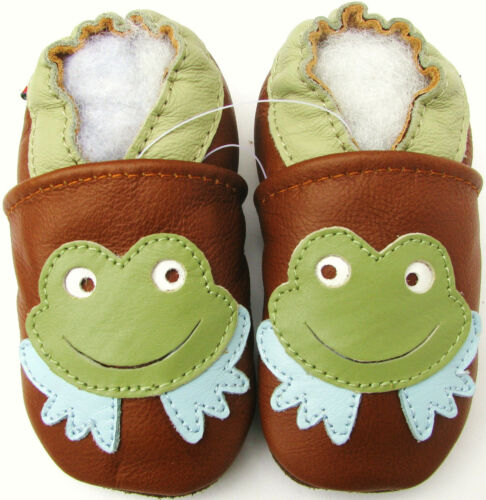carozoo frog brown 6-12m C1 new soft sole leather infant baby shoes