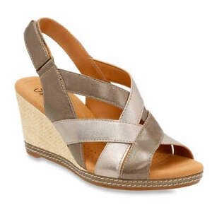 Details about NEW WOMENS CLARKS HELIO CORAL WEDGE SILVER METALLIC COLOR STRAP LEATHER SANDALS
