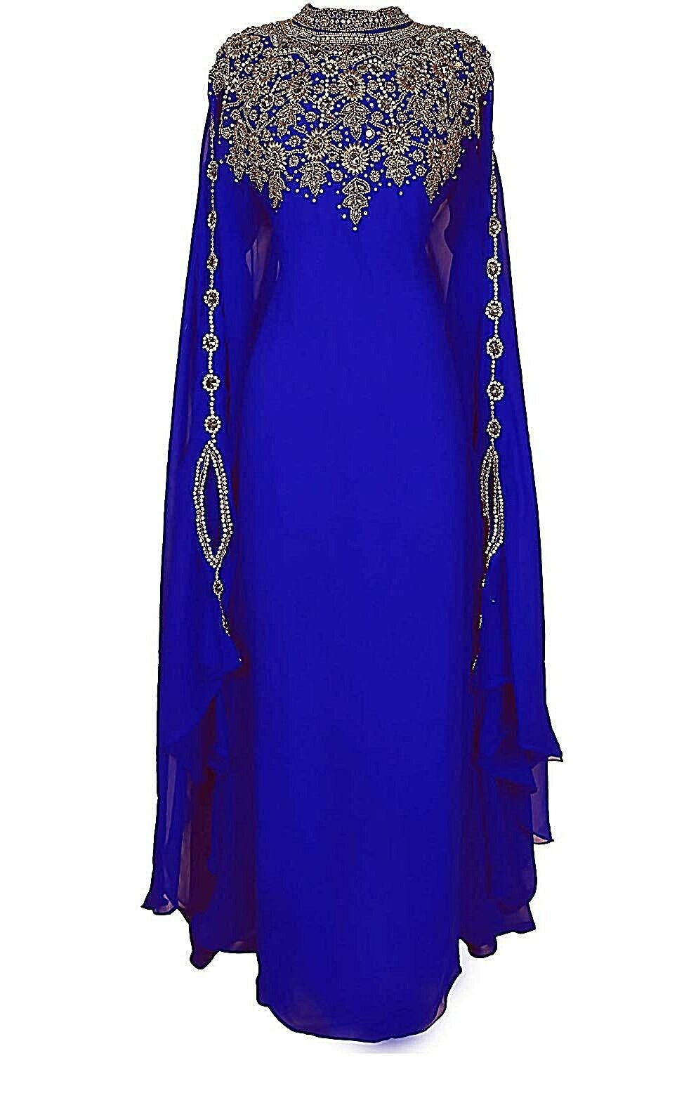 MgoldCCAN DUBAI blueE KAFTANS ABAYA DRESS VERY FANCY LONG GOWN MS10197