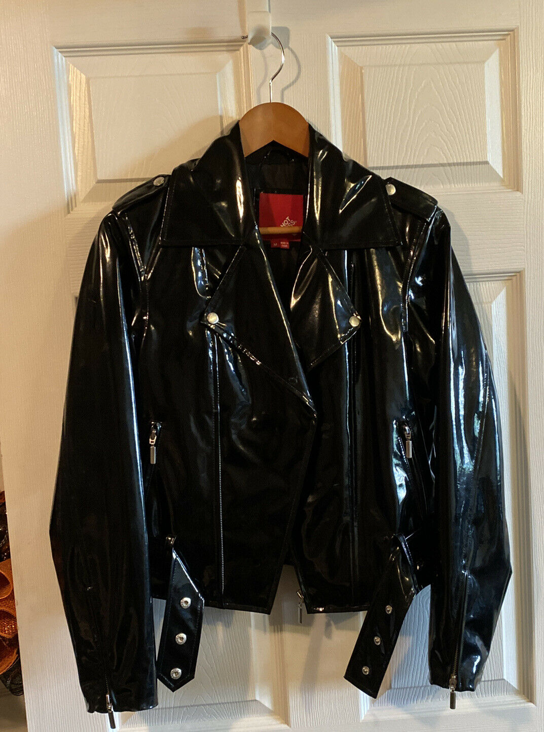 Cosplay Collar Faux Leather Jacket Halloween Costume Black Shiny Club wear Goth
