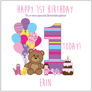 Personalised 1st Birthday Card Teddy Bear Any Age Name Daughter