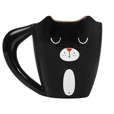 ANIMAL MUG Black CAT Ceramic 400ml Tea COFFEE Mug THUMBS UP