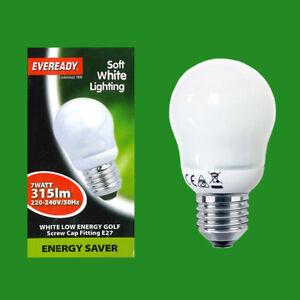 1x 7W EVEREADY Golf Light Bulb ES E27 CFL Energy Saving Lamp 3500K Lighting