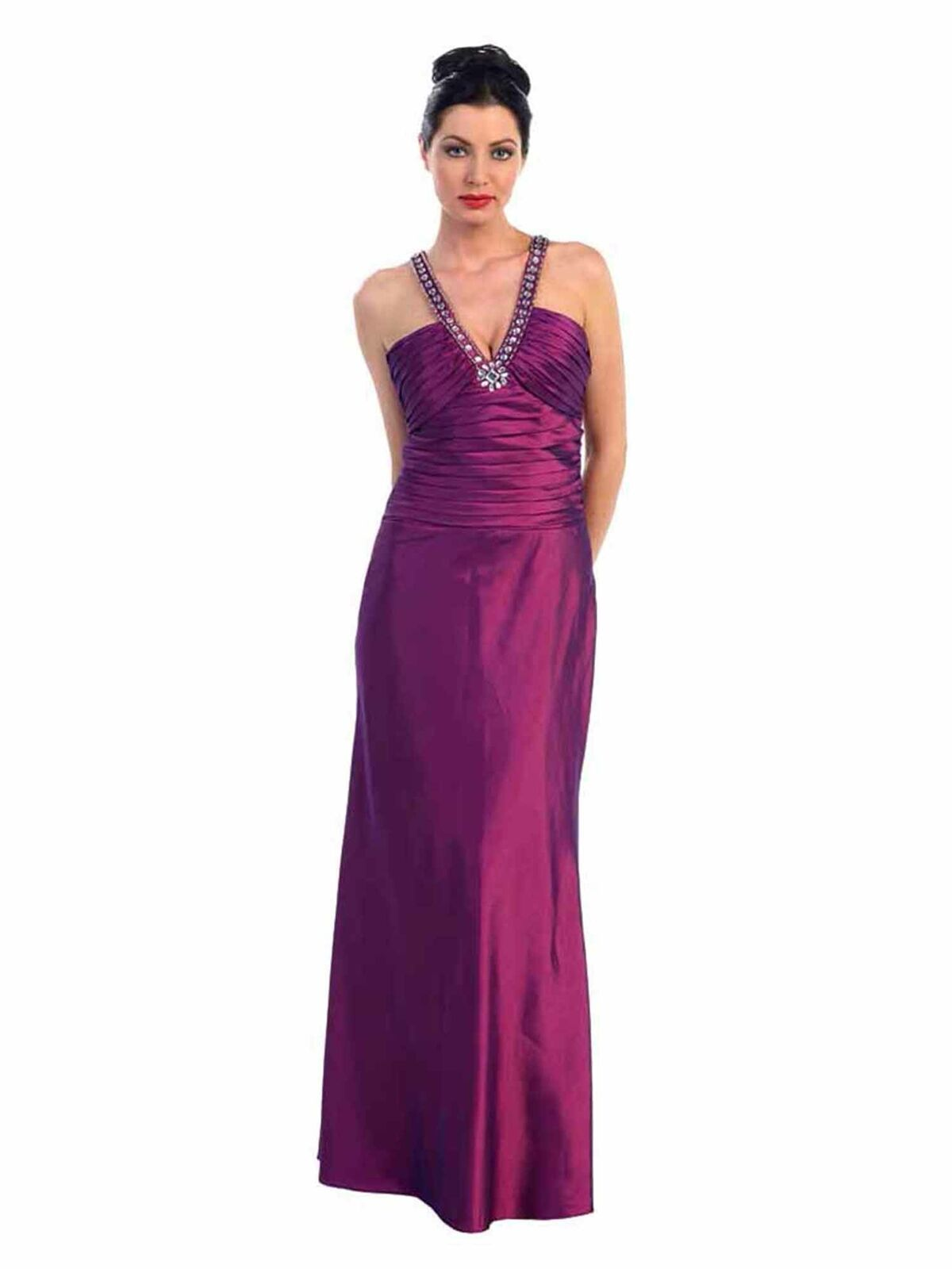 lila SATIN EVENING GOWN WITH RHINESTONE TOP - S