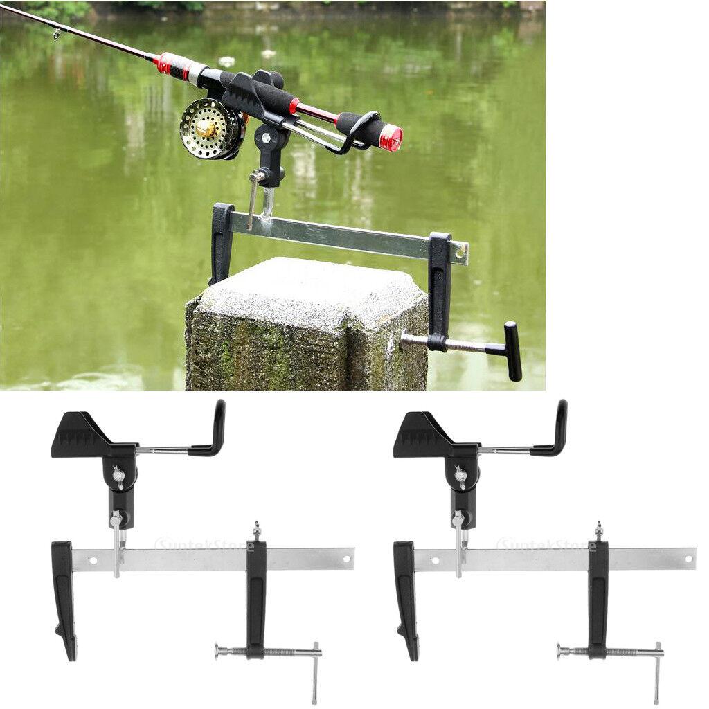 2pcs 360 Degree redatable Fishing Rod Holder for Bridge Railing Stone Pier L