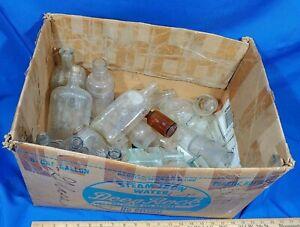 HUGE-LOT-Antique-Glass-Bottle-Apothecary-Medicine-Whiskey-Embossed-Blank-VTG