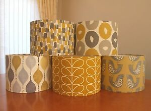Image Is Loading New Handmade Fabric Lampshades In Mustard Yellow Grey