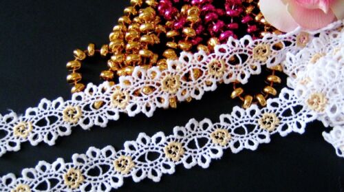 white with gold embroidery  lace trim price for 1 yard ribbon Lovely