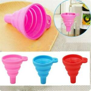 Flexible Silicone Gel Practical Collapsible Foldable Funnel Hopper Kitchen Tool