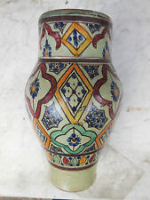 Superba ANTICO Marocchino VASO BARATTOLO FEZ? maiolica terracotta islamica 19C