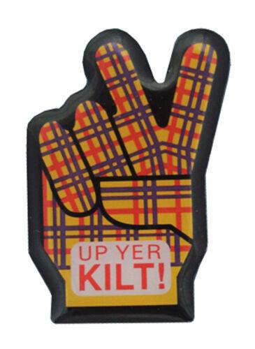Scottish Up Yer Kilt Tartan Hand Peace Metal Pin Badge Lapel