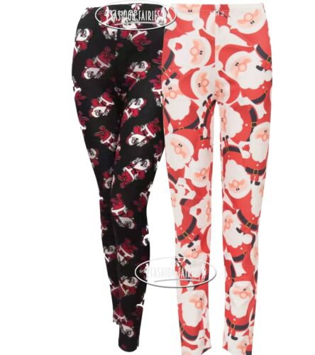 New Womens Ladies Christmas Xmas Santa Printed Leggings Trouser Pants Sizes 8-26