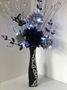 Artificial silk flower arrangement in silver flowers in black image is loading artificial silk flower arrangement in silver flowers in mightylinksfo