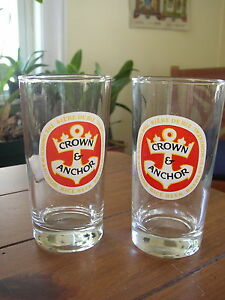 Crown-amp-Anchor-Rice-Beer-vintage-Glasses-set-of-2