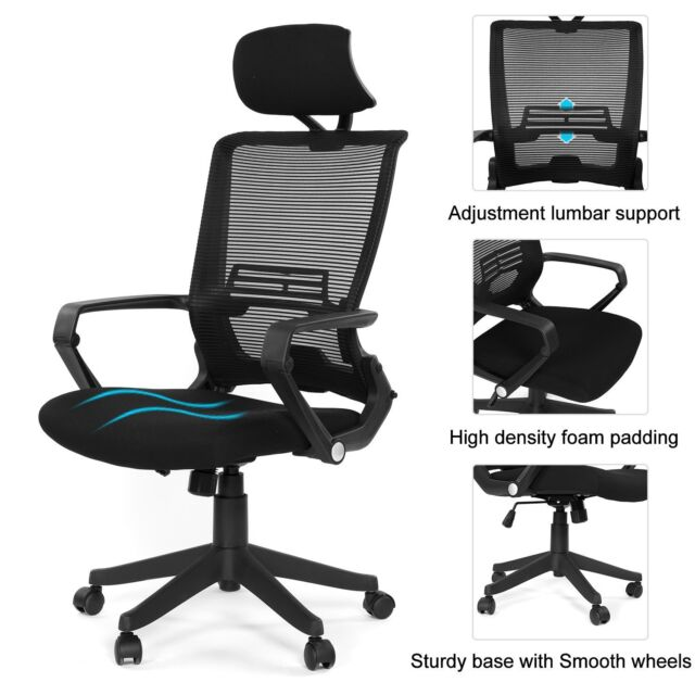 Ergonomic Mesh Back/Fabric Office Chair Seats W/Frame Easy Folding Fold Out