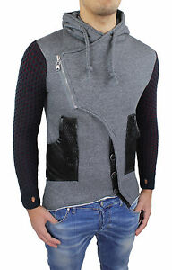 Cardigan-Men-039-s-Sweatshirt-Grey-Black-Slim-Fit-Super-Tight-Hood-S-M-L-XL-XXL