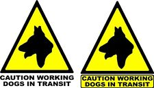 2 x Reflective 12'' Dog warning Triangle sticker Car / Van Body panel/ window