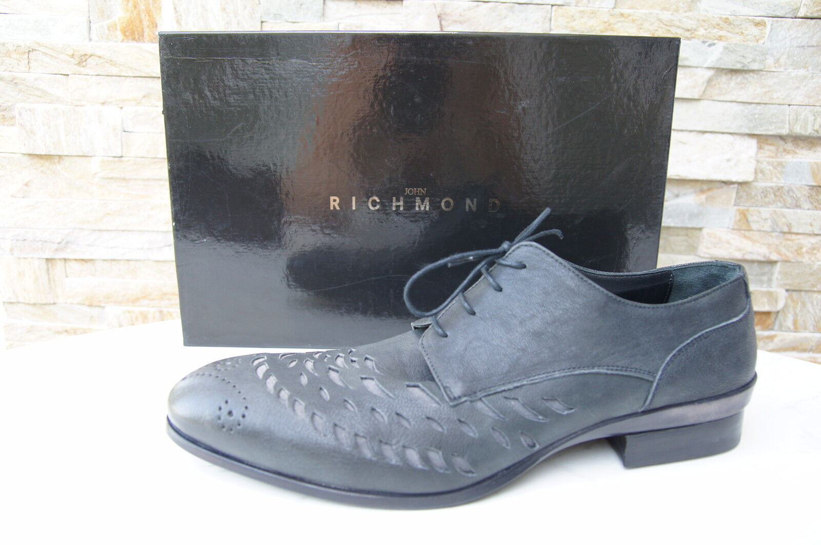 John Richmond Size 43,5 9,5 Lace-Up Loafers shoes Grey New Previously
