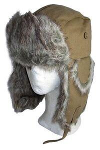 Faux Fur and Black Leather Hat Winter Ski Nordic Russian Cap Ushanka New