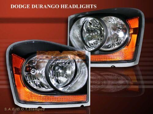 2004-2006 DODGE DURANGO BLACK AMBER HEADLIGHTS PAIR OE STYLE BULBS INCLUDED
