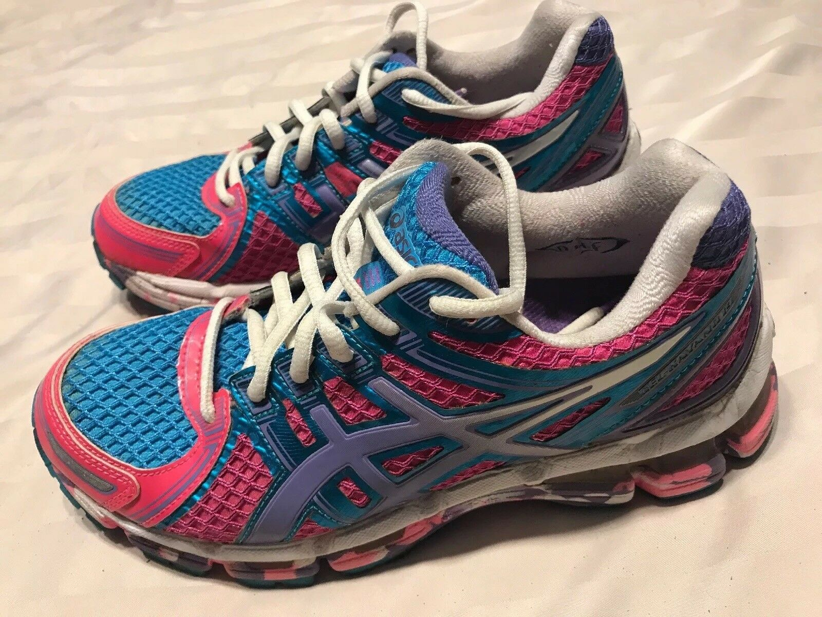 Asics Gel Kayano 19 Women's Metallic bluee Pink Purple Running shoes Sz 7 SC8
