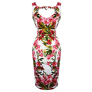 Hearts-amp-Roses-London-Pink-Chic-Floral-Vintage-Retro-1950s-Fitted-Pencil-Dress