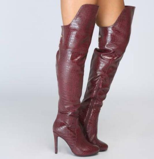 Womens Pointy Toe Knee High Boots Knight Ridding Boots Stilettos Heel shoes