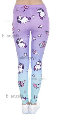 Soft Matte Fabric Unicorn Print Leggings Trousers One size UK 8-12